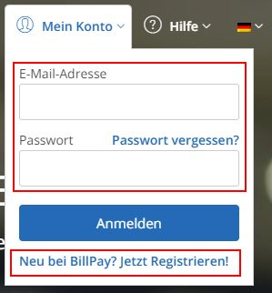 BillPay Anmelden oder Registrieren
