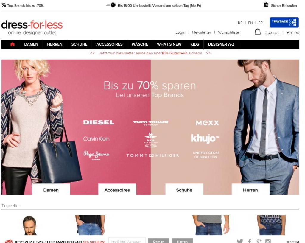 der Dress for less Shop