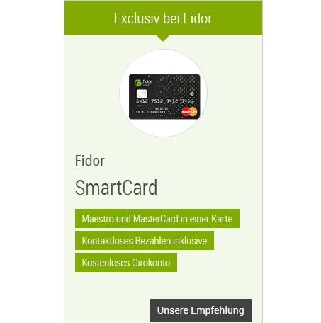 Die Konditionen der Fidor SmartCard