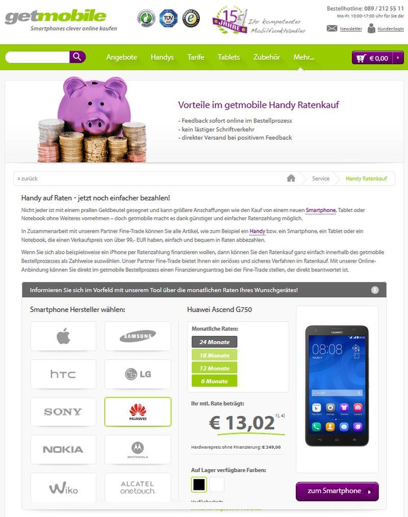smartphones auf raten kaufen - shops mit ratenzahlung