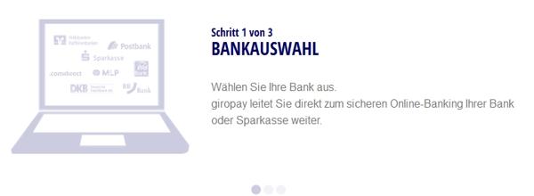 Bei Giropay Bank auswählen