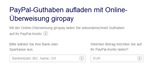 PayPal mit Giropay aufladen