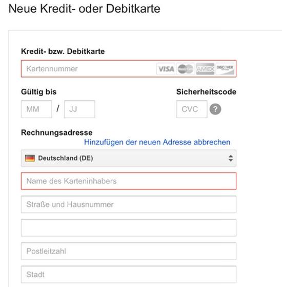 Kreditkartendaten bei Google Wallet ändern