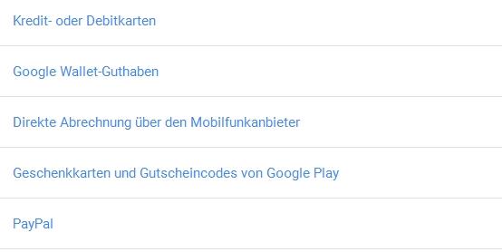 Im Google Wallet Konto PayPal anzeigen
