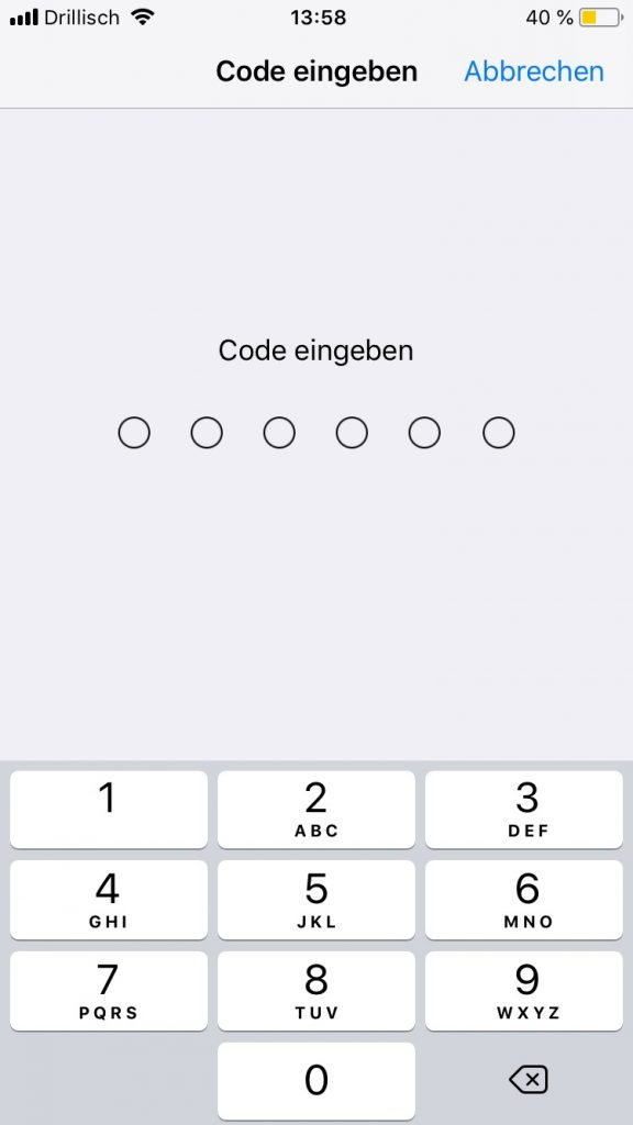 iPhone Touch-ID Code