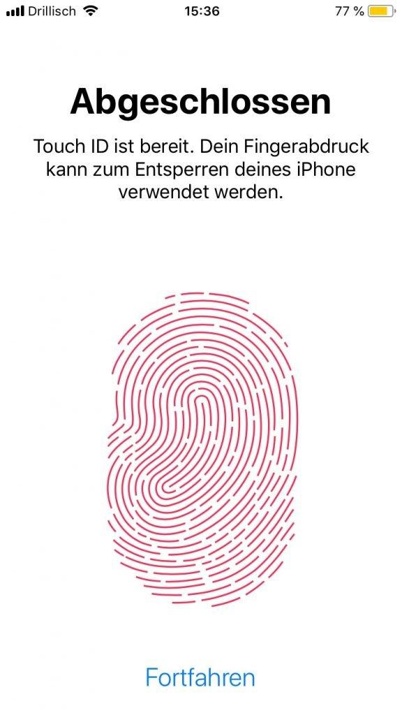 iPhone Touch-ID abgeschlossen