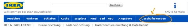 Bei IKEA Geschäftskundenbereich auswählen