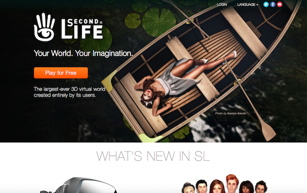 Die Homepage von Second Life