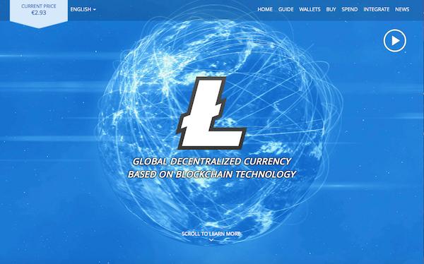 Die Startseite von Litecoin