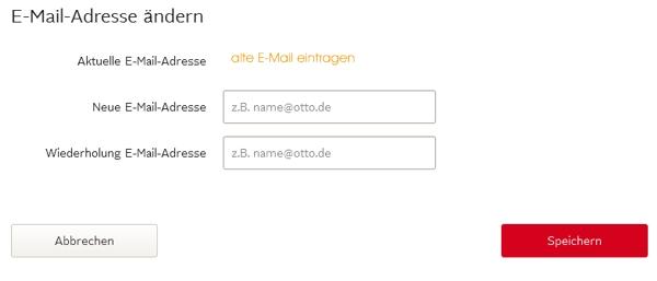 Bei OTTO E-Mail-Adresse ändern