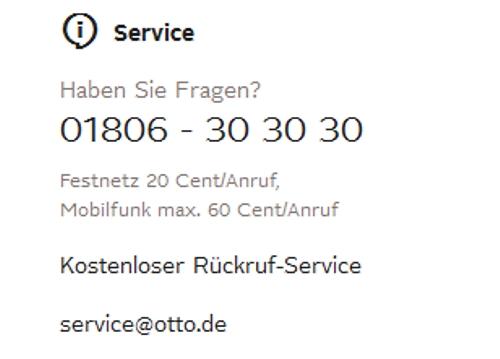 Kontaktdaten zum OTTO Kundensupport