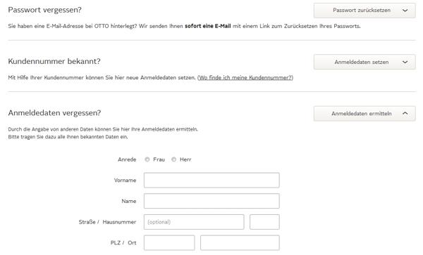 OTTO Passwort Daten ermitteln