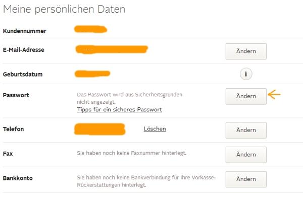 OTTO Passwort unter Daten anzeigen