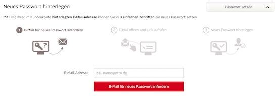 OTTO Passwort zurücksetzen Schritt 3