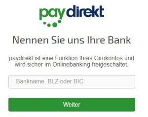 Prüfen SIe anhand der Bank, der BLZ oder der BIC, ob Ihre Bank Paydirekt unterstützt