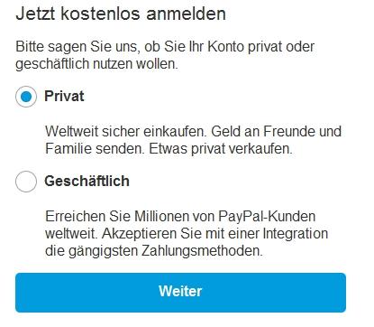Bei PayPal Konto eröffnen