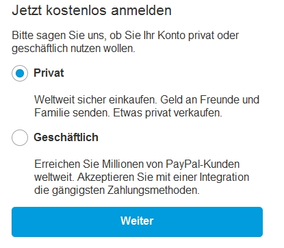 paypal konto eröffnen