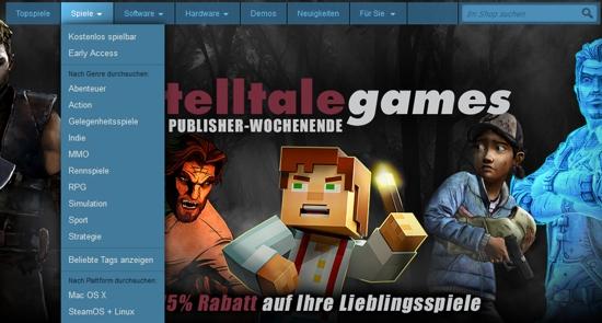 Spiele aussuchen bei Steam
