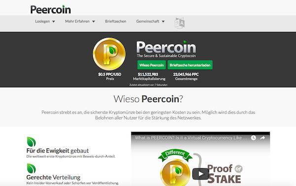 Die Homepage von Peercoin