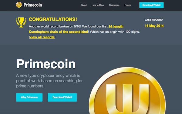 Die Startseite von Primecoin