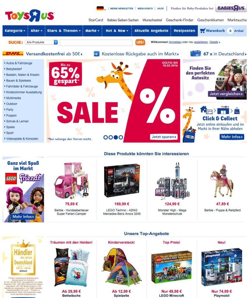 Der Toysrus Onlineshop