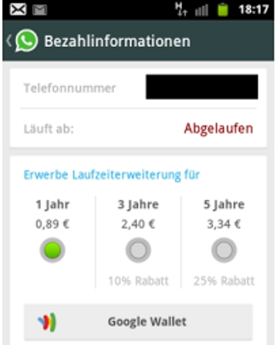 Whatsapp über PayPal zahlen und verlängern