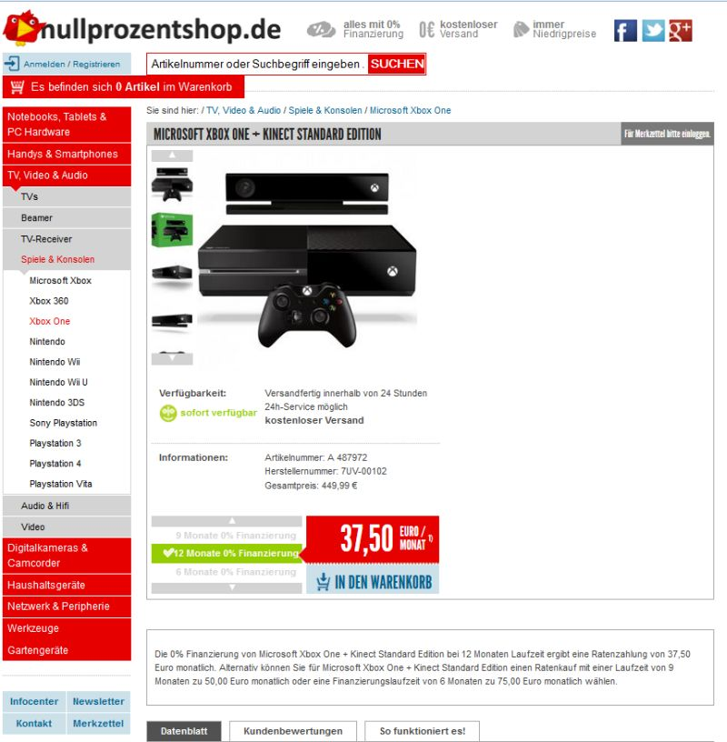 xbox one auf raten kaufen so klappt 39 s mit der ratenzahlung. Black Bedroom Furniture Sets. Home Design Ideas