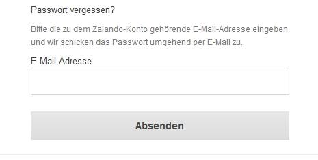 Bei Zalando neues Passwort anfordern