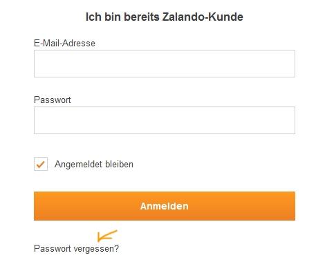 Das Zalando Passwort vergessen