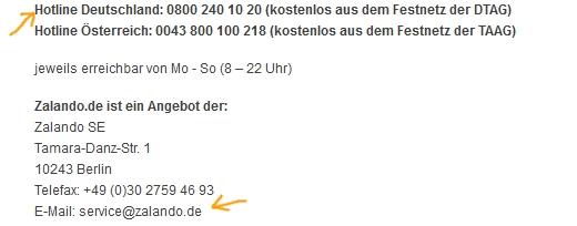 Die Kontaktdaten von Zalando mit wenigen Klicks anzeigen lassen